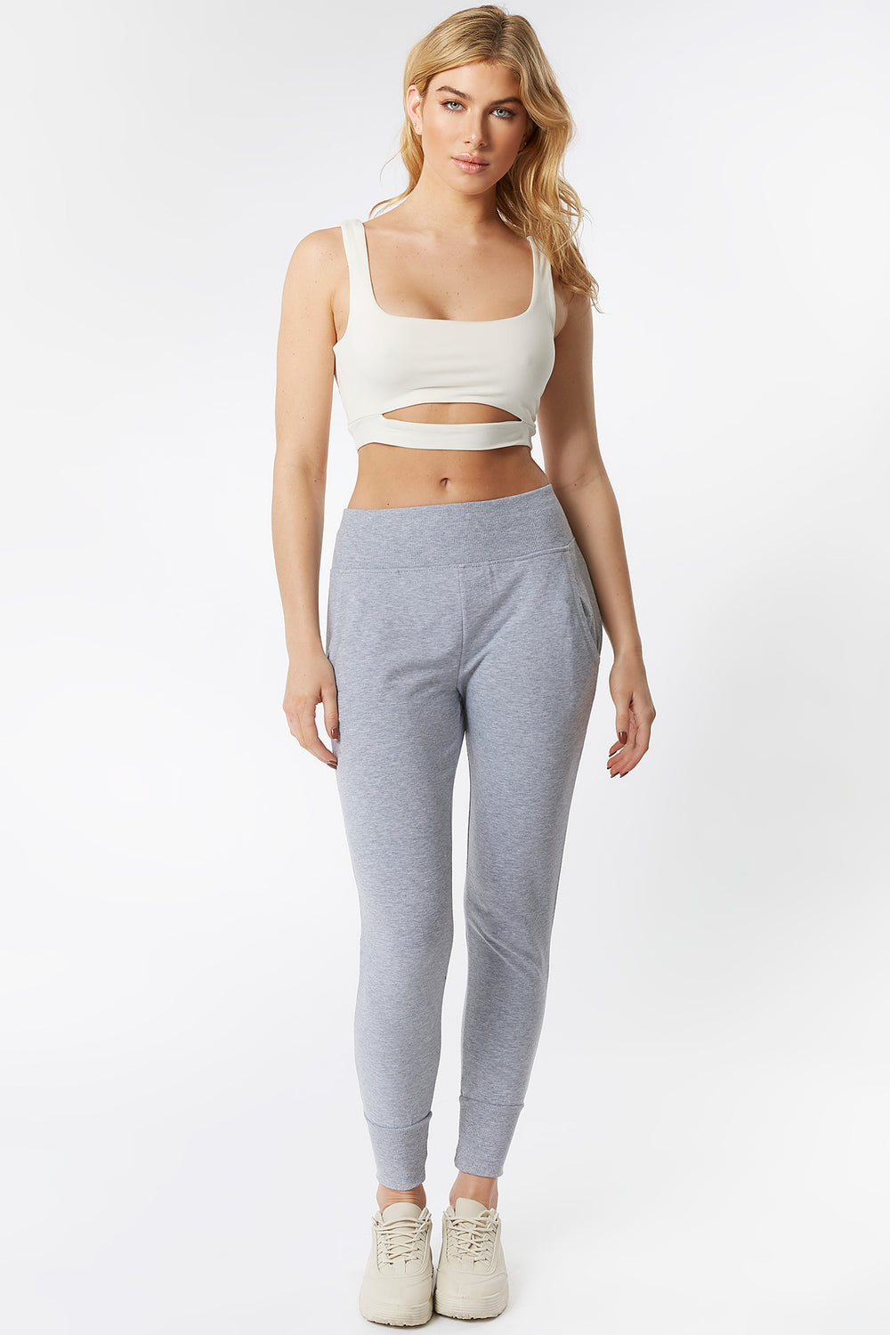 Ribbed Waist Fitted Jogger Heather Grey