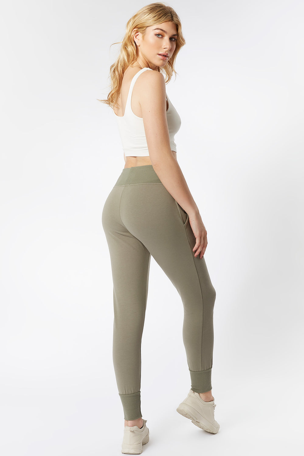 Ribbed Waist Fitted Jogger Dark Green