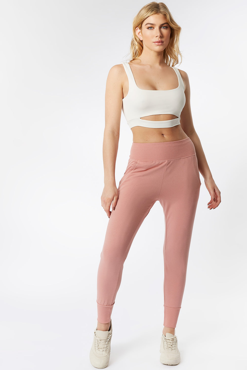 Ribbed Waist Fitted Jogger Mauve