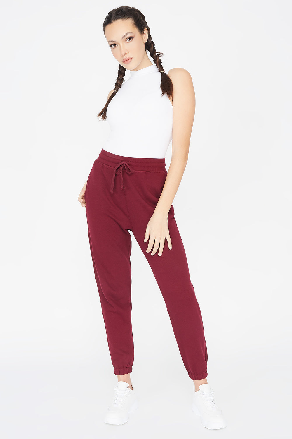 Basic Fleece Drawstring Jogger Burgundy