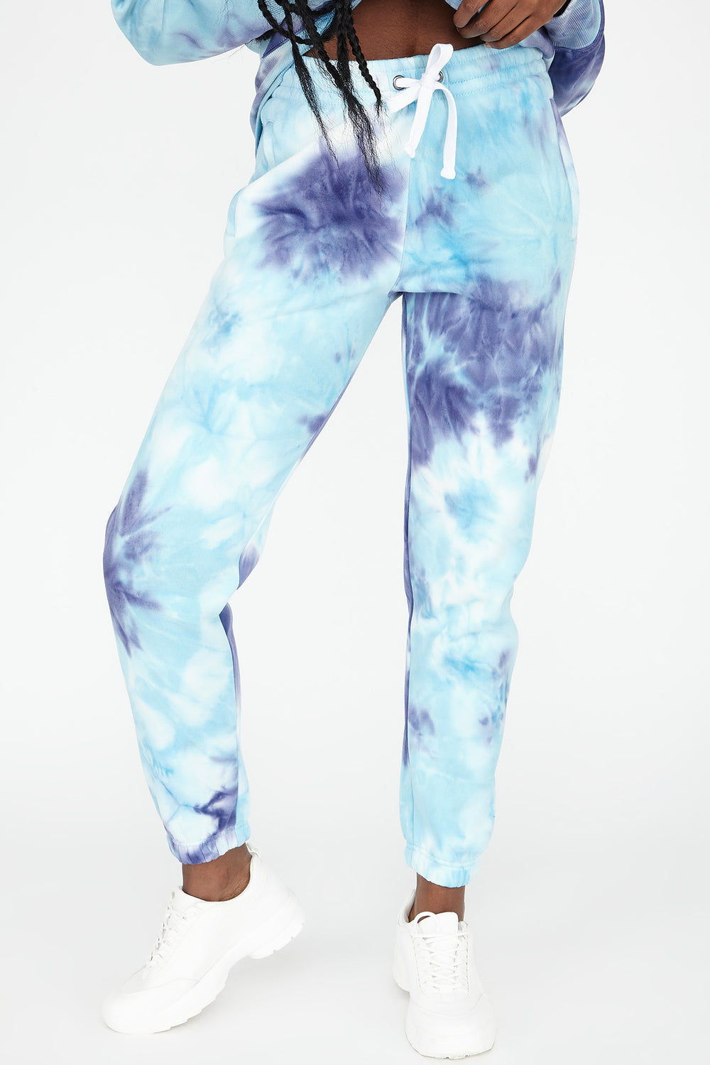 Fleece Tie Dye Graphic Angel Boyfriend Jogger Purple