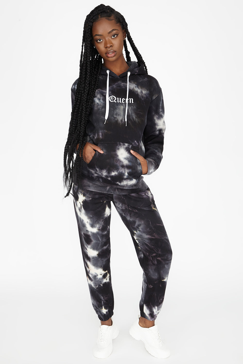 Fleece Tie Dye Graphic Queen Boyfriend Jogger Black with White