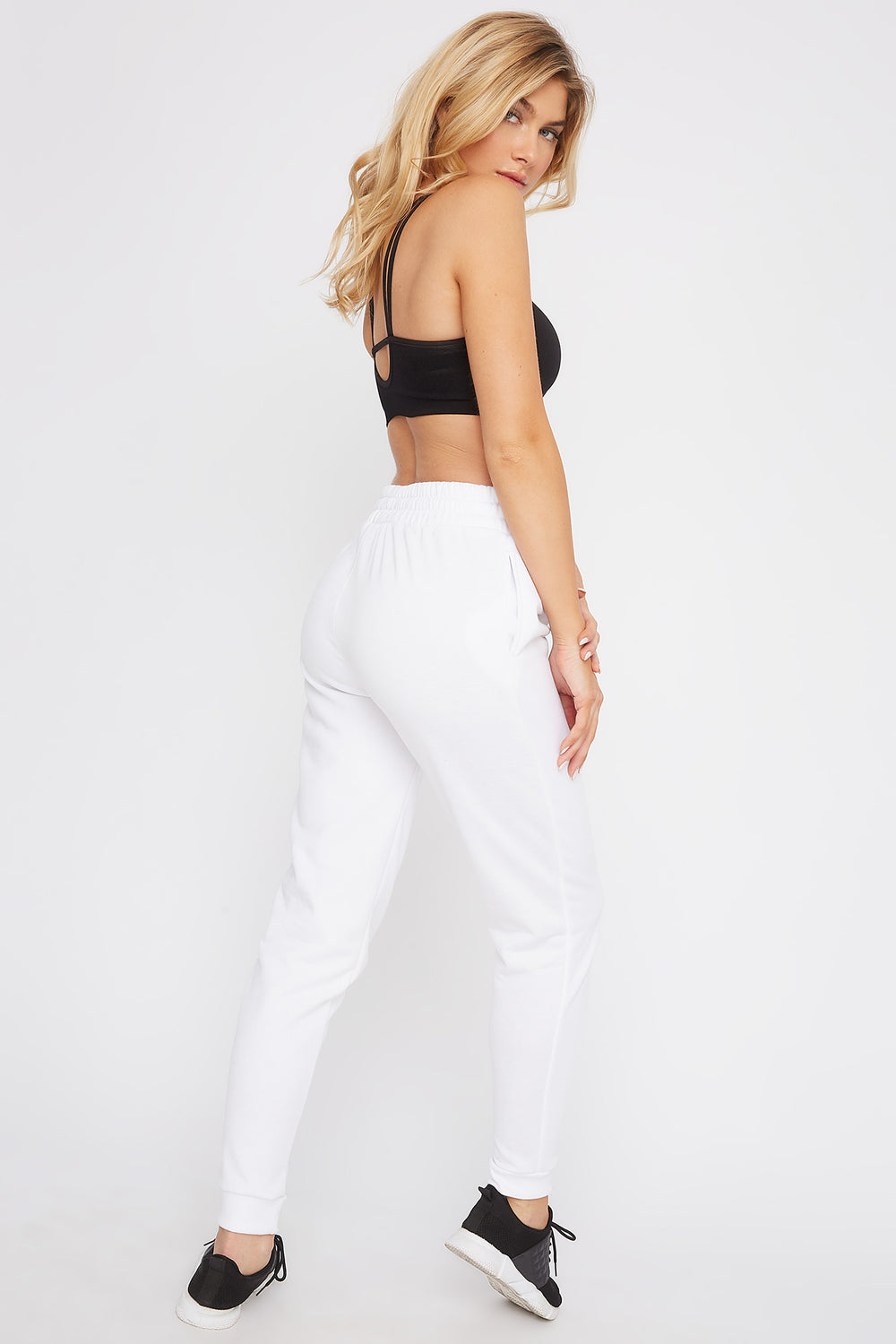 Fleece High-Rise Jogger White
