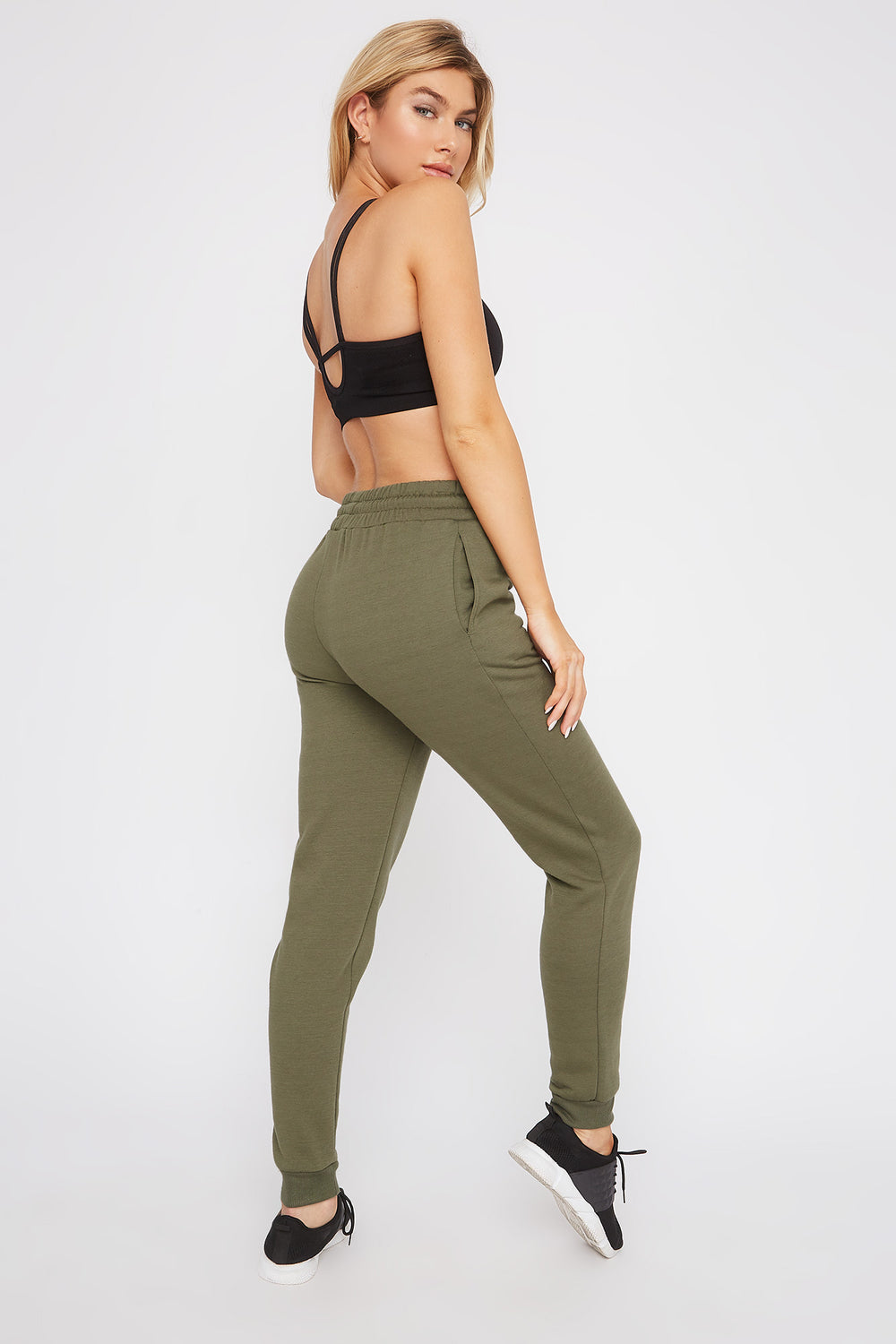 Fleece High-Rise Jogger Dark Green