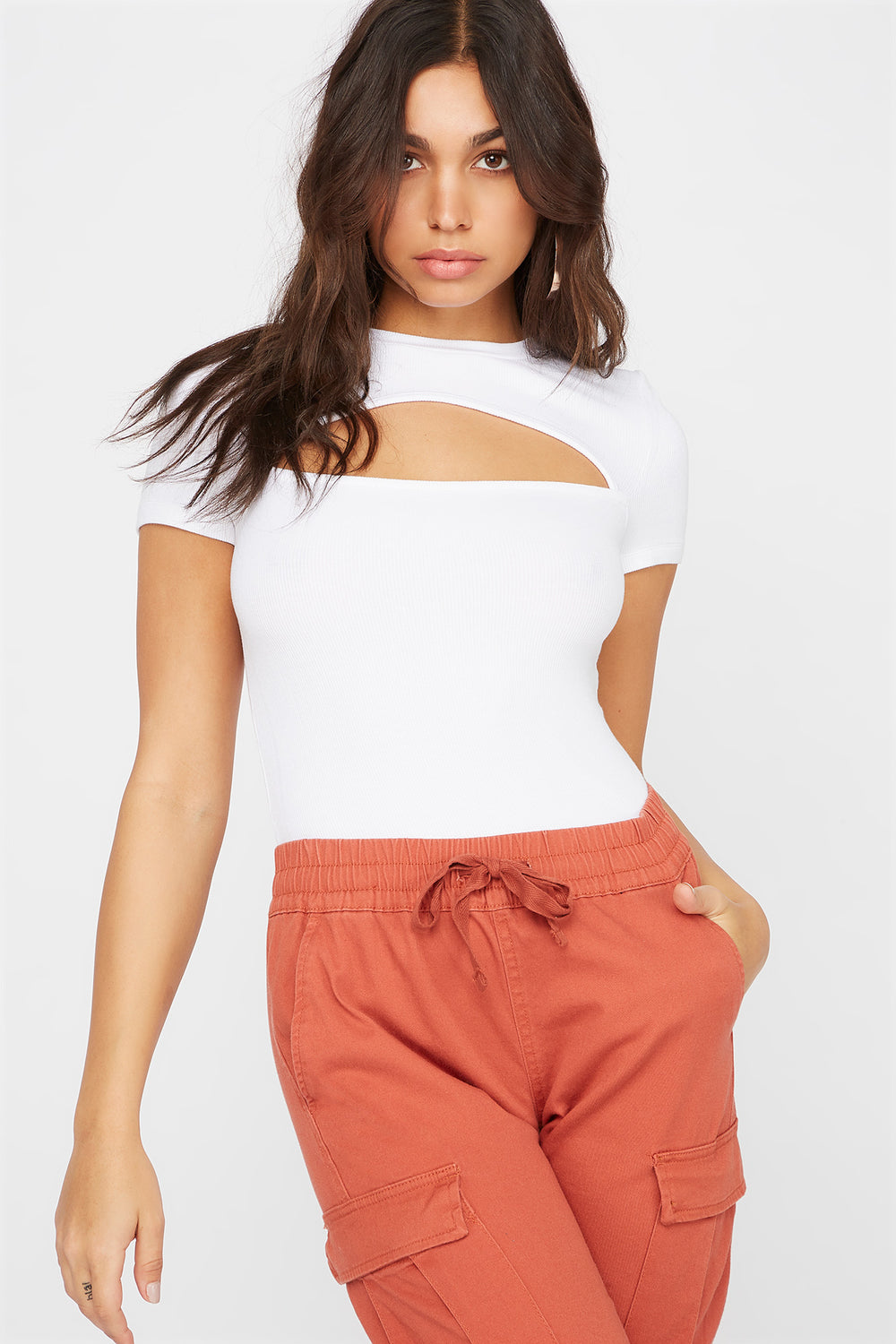 Ribbed Cut Out Cropped Short Sleeve Top White