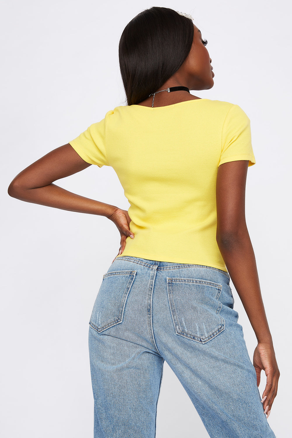 Ribbed Button T-Shirt Yellow