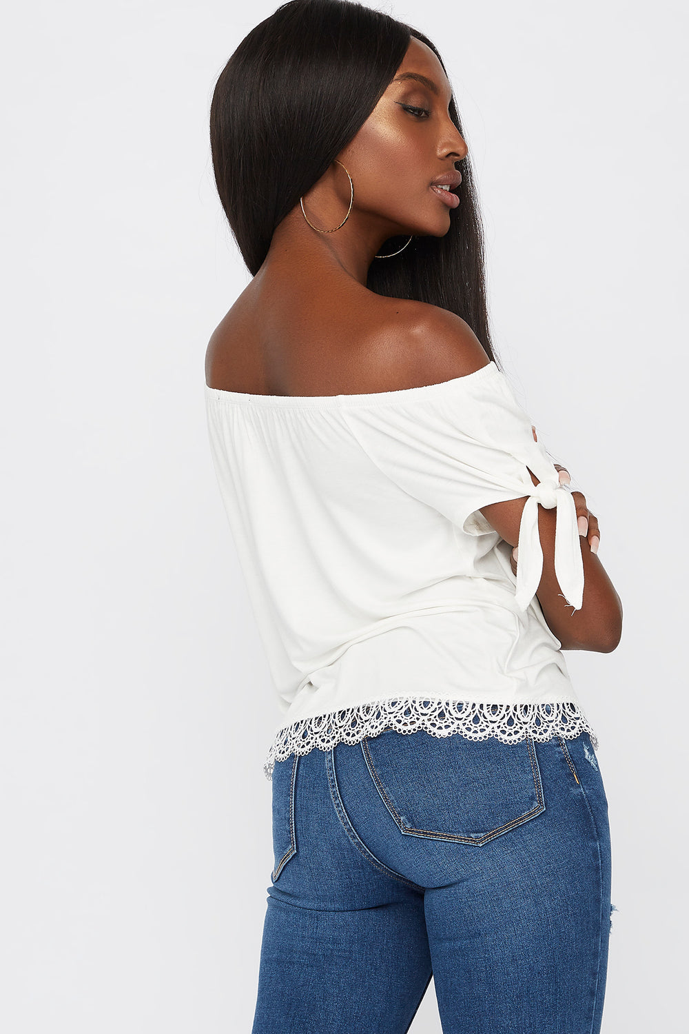 Crochet Hem Off The Shoulder Top White