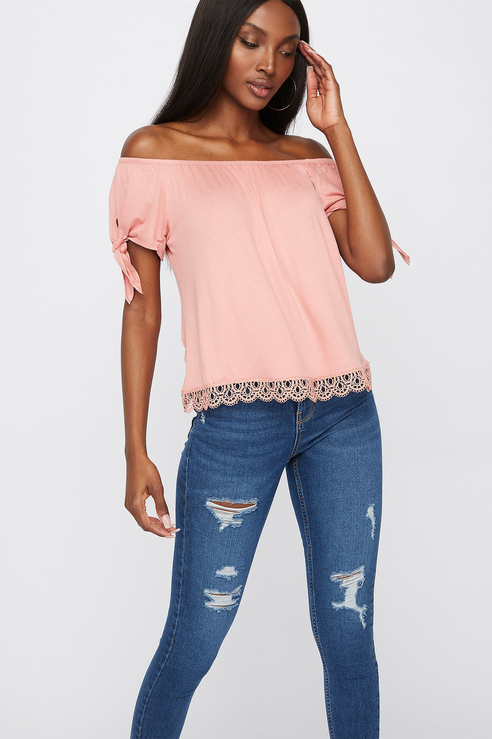 Crochet Hem Off The Shoulder Top Mauve