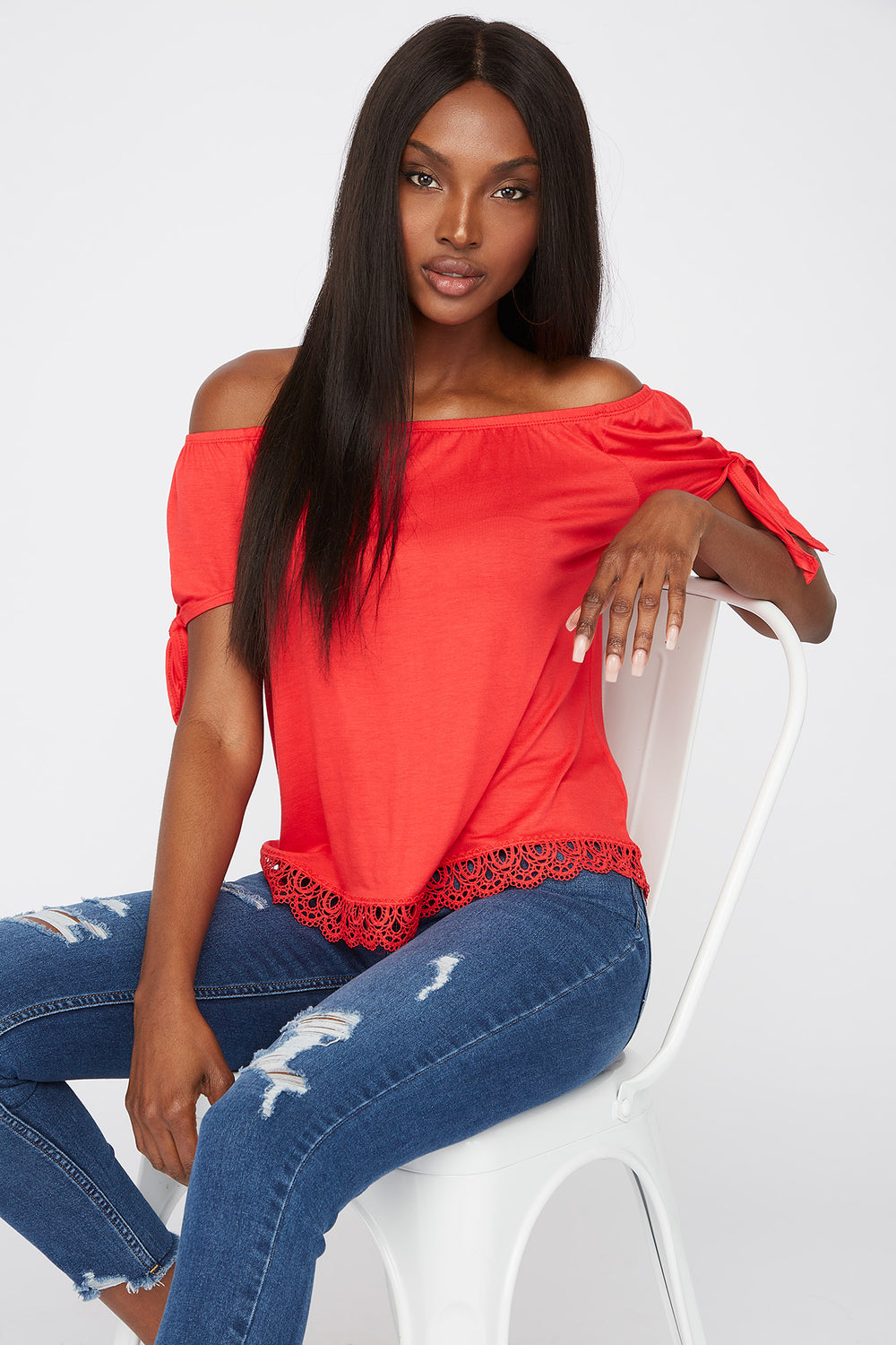 Crochet Hem Off The Shoulder Top Red