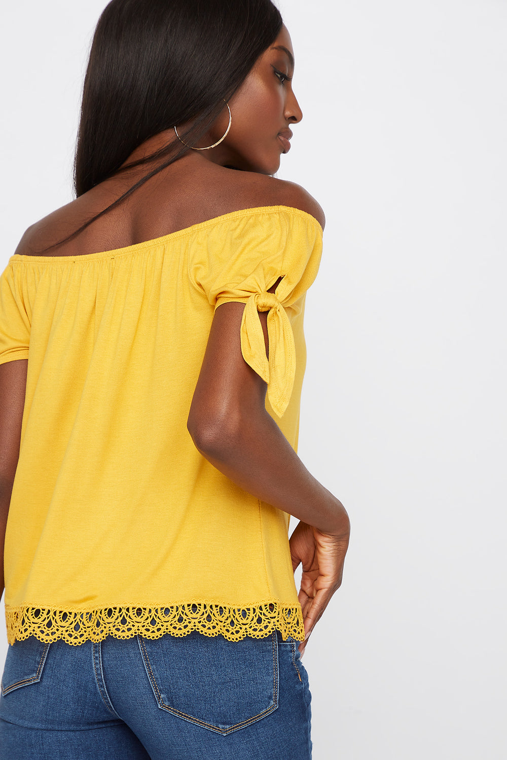 Crochet Hem Off The Shoulder Top Mustard