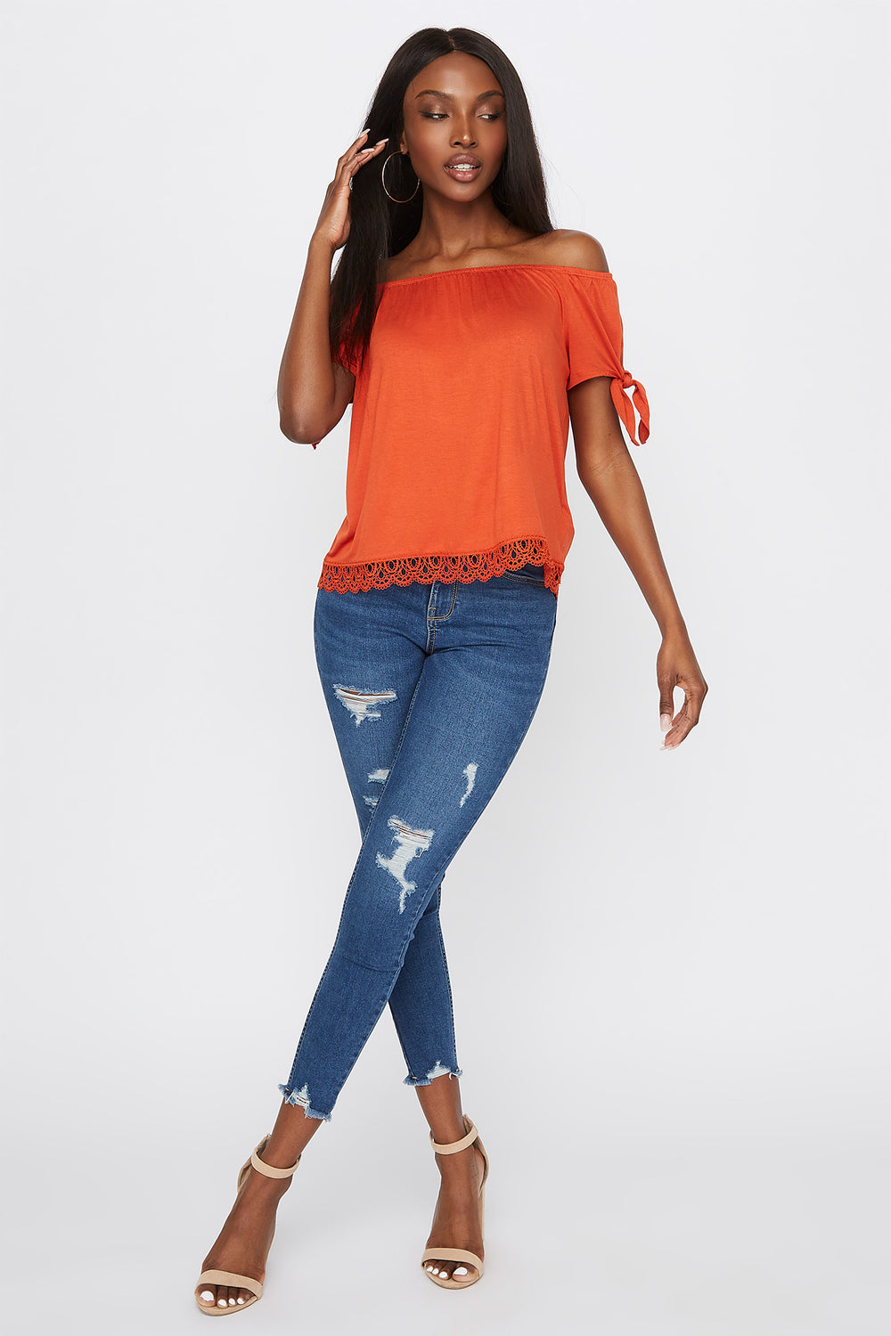 Crochet Hem Off The Shoulder Top Rust