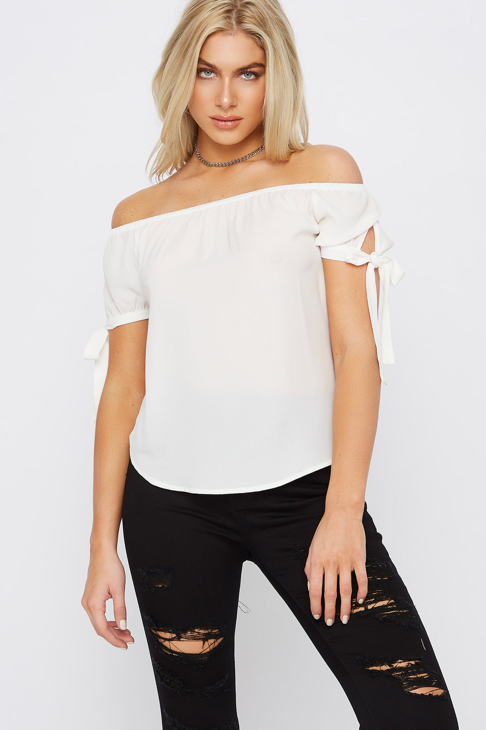 Off The Shoulder Self Tie Sleeve Top Off White