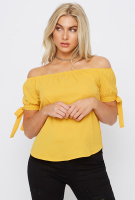Off The Shoulder Self Tie Sleeve Top