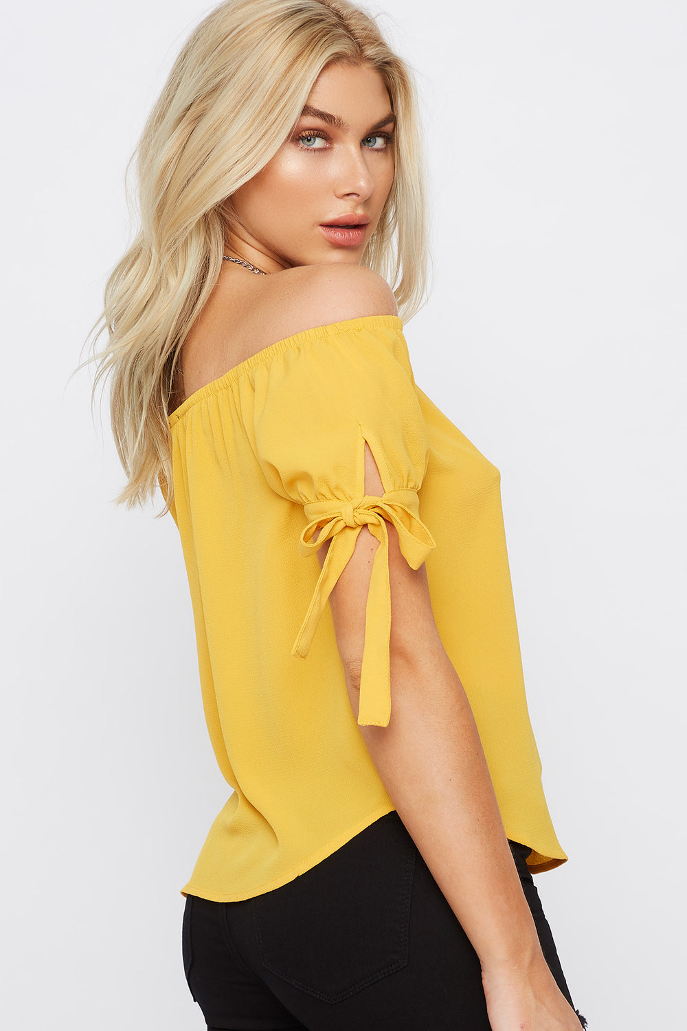 Off The Shoulder Self Tie Sleeve Top Mustard