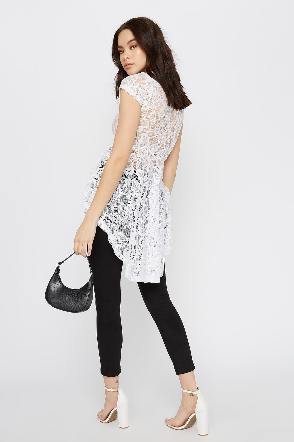 Lace Short Sleeve High-Low Peplum Top White