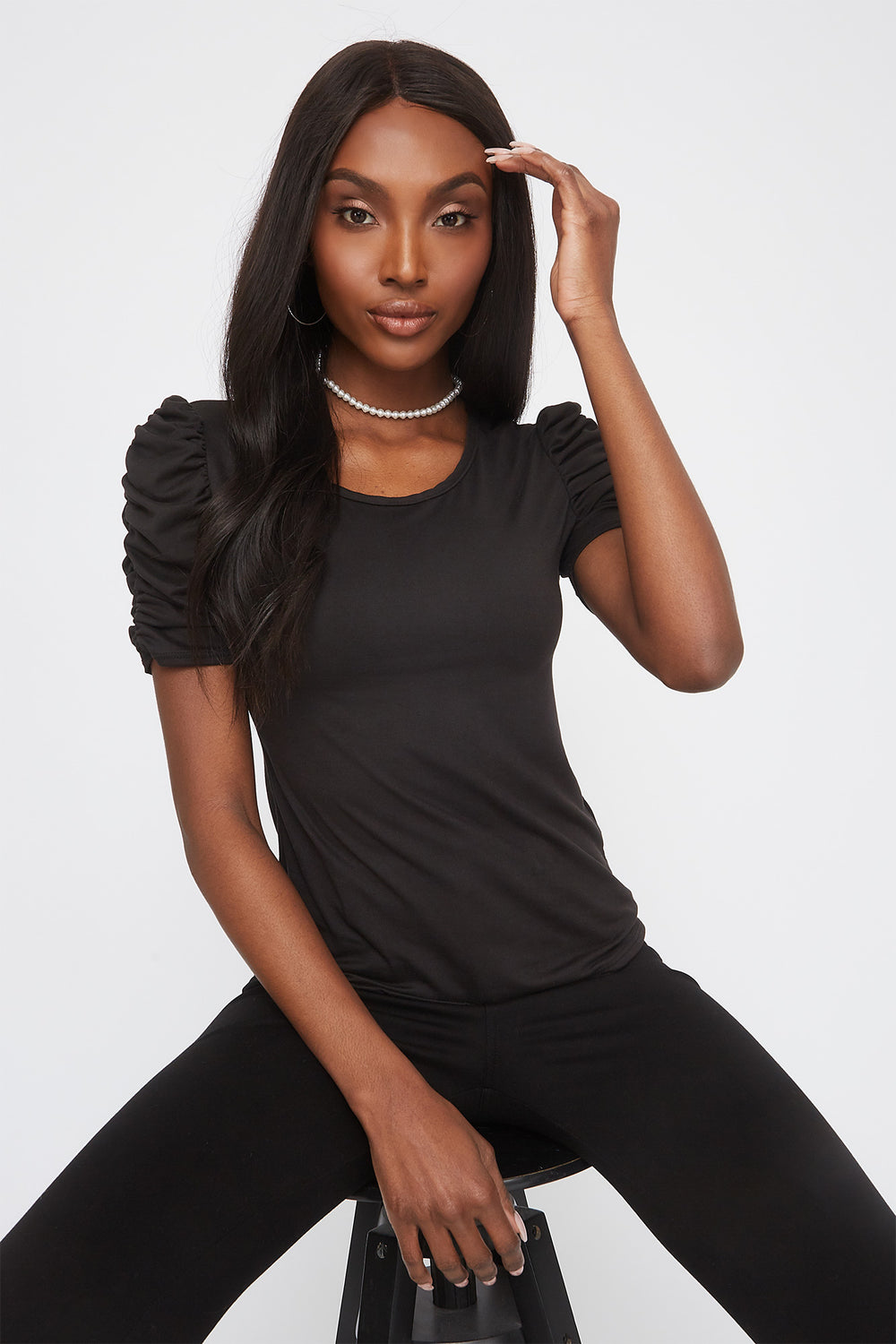 Soft Crew Neck Ruched Sleeve Shirt Black