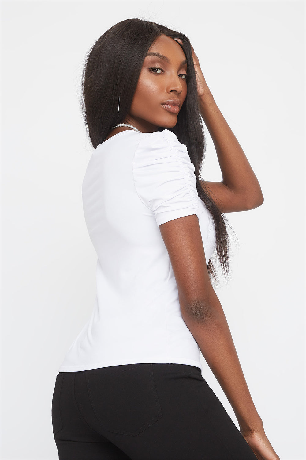Soft Crew Neck Ruched Sleeve Shirt White