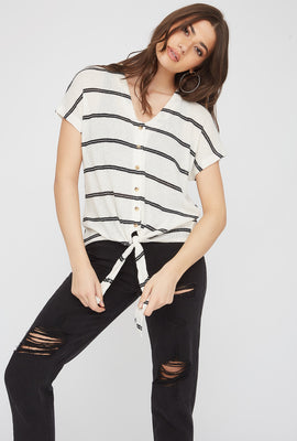 Striped Tie Front Button-Up Short Sleeve Top