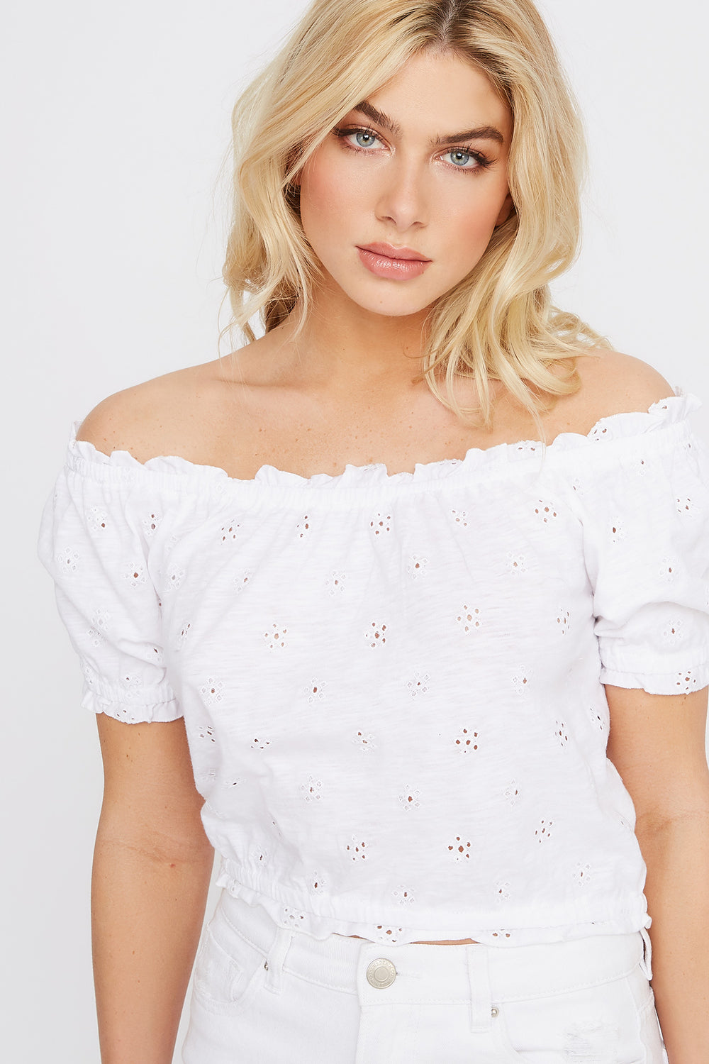 Off The Shoulder Cropped Eyelet Top White