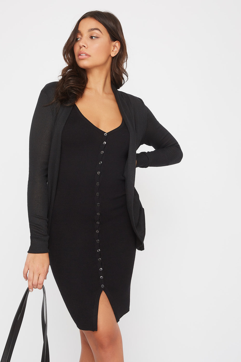 Ribbed Cocoon Cardigan Black