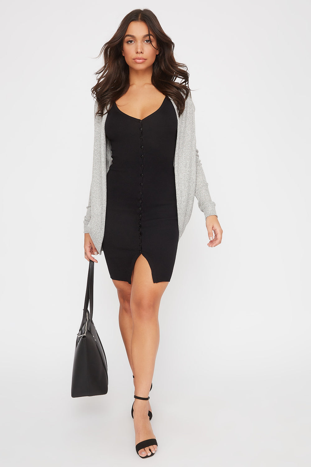Ribbed Cocoon Cardigan Heather Grey