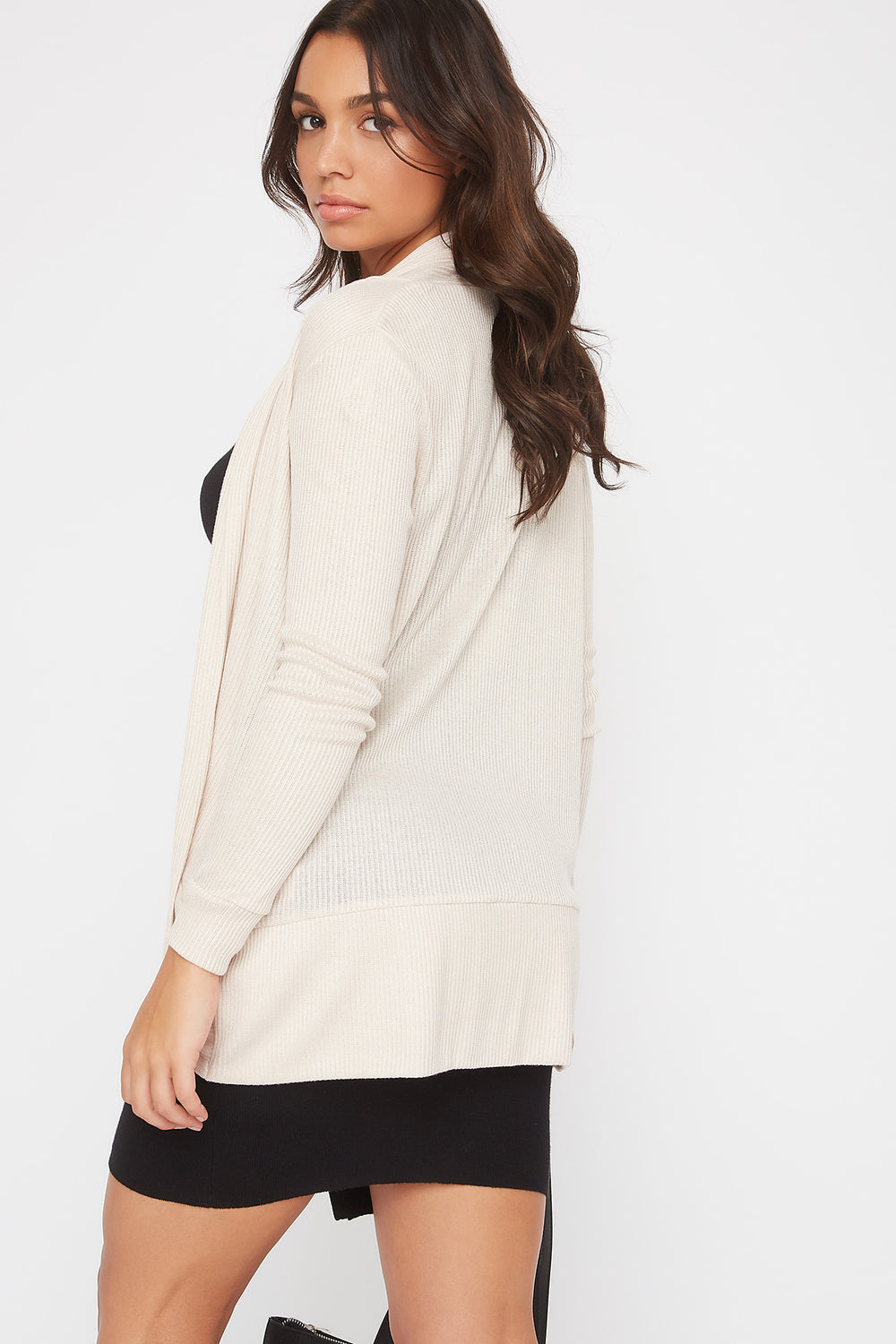 Ribbed Cocoon Cardigan Oatmeal