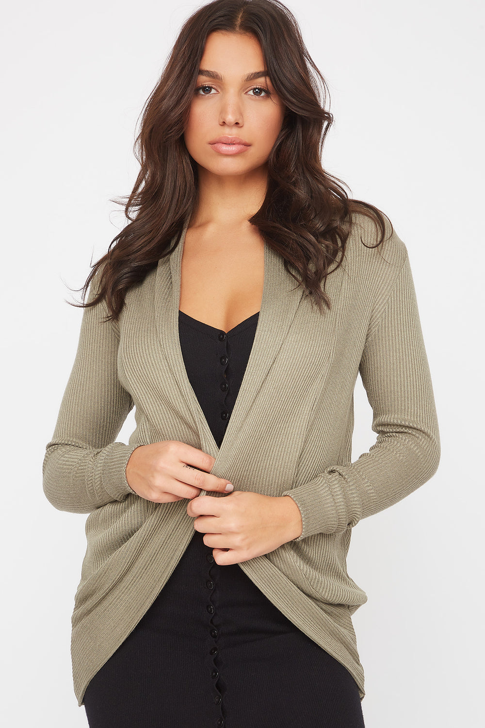 Ribbed Cocoon Cardigan Dark Green
