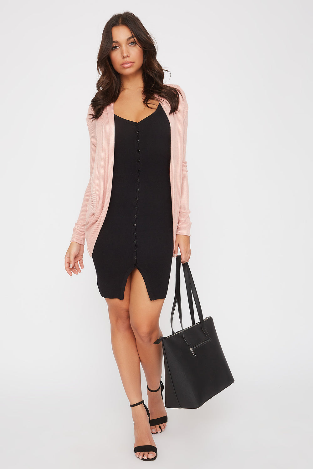 Ribbed Cocoon Cardigan Rose
