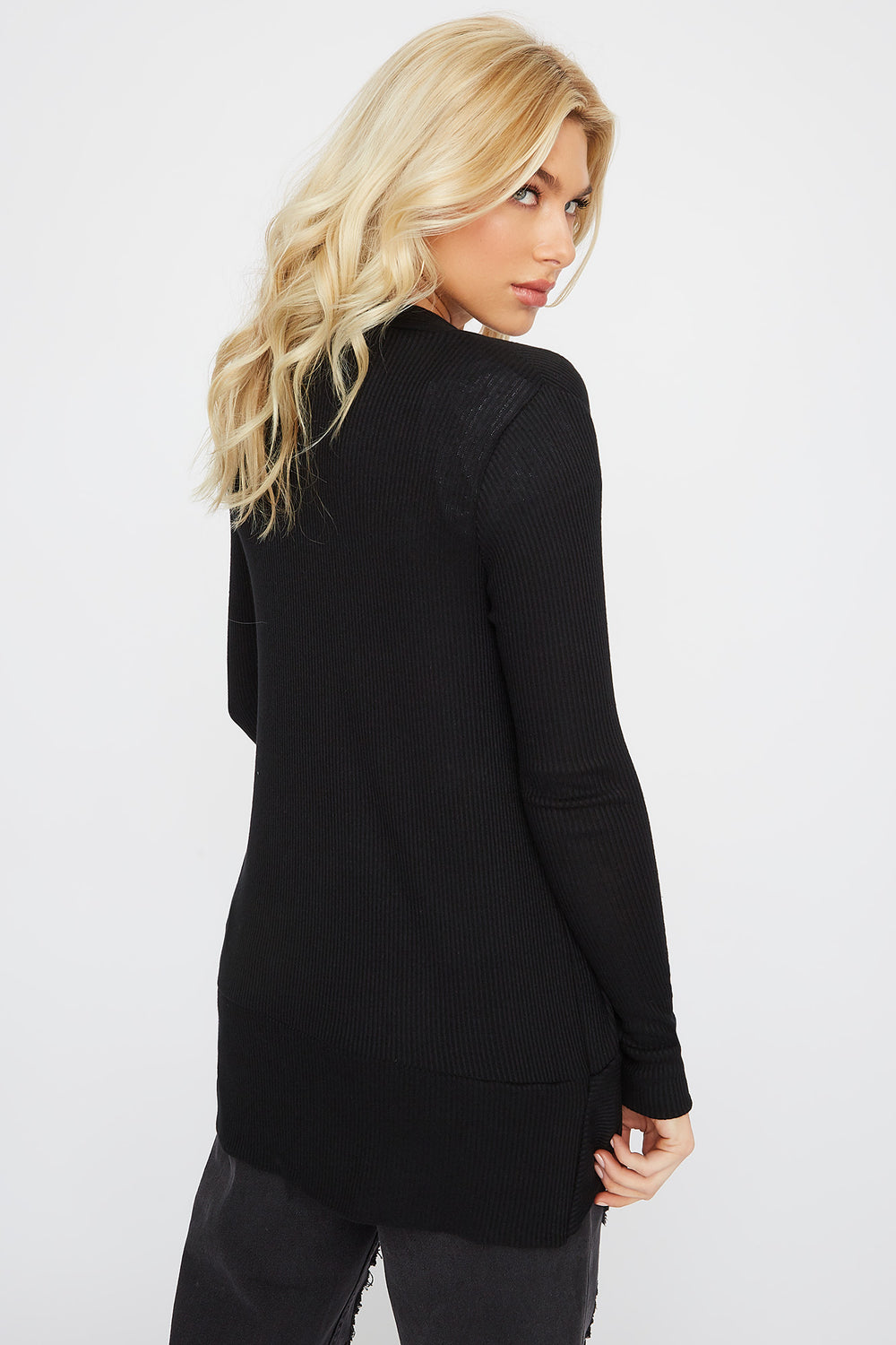 Ribbed Open-Front Cocoon Cardigan Black