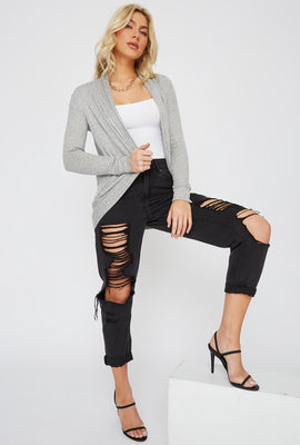 Ribbed Open-Front Cocoon Cardigan