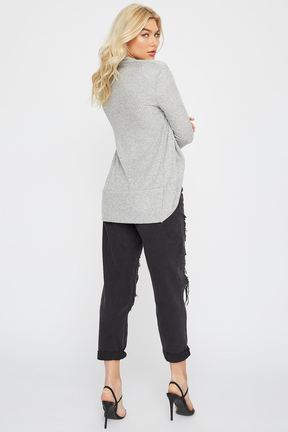 Ribbed Open-Front Cocoon Cardigan Heather Grey