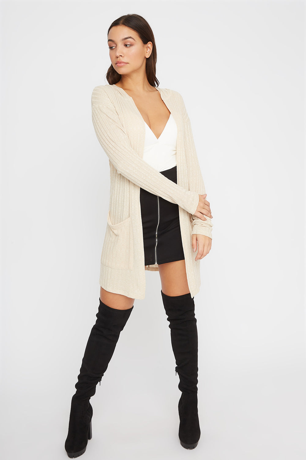 Ribbed Open-Front Cardigan Oatmeal