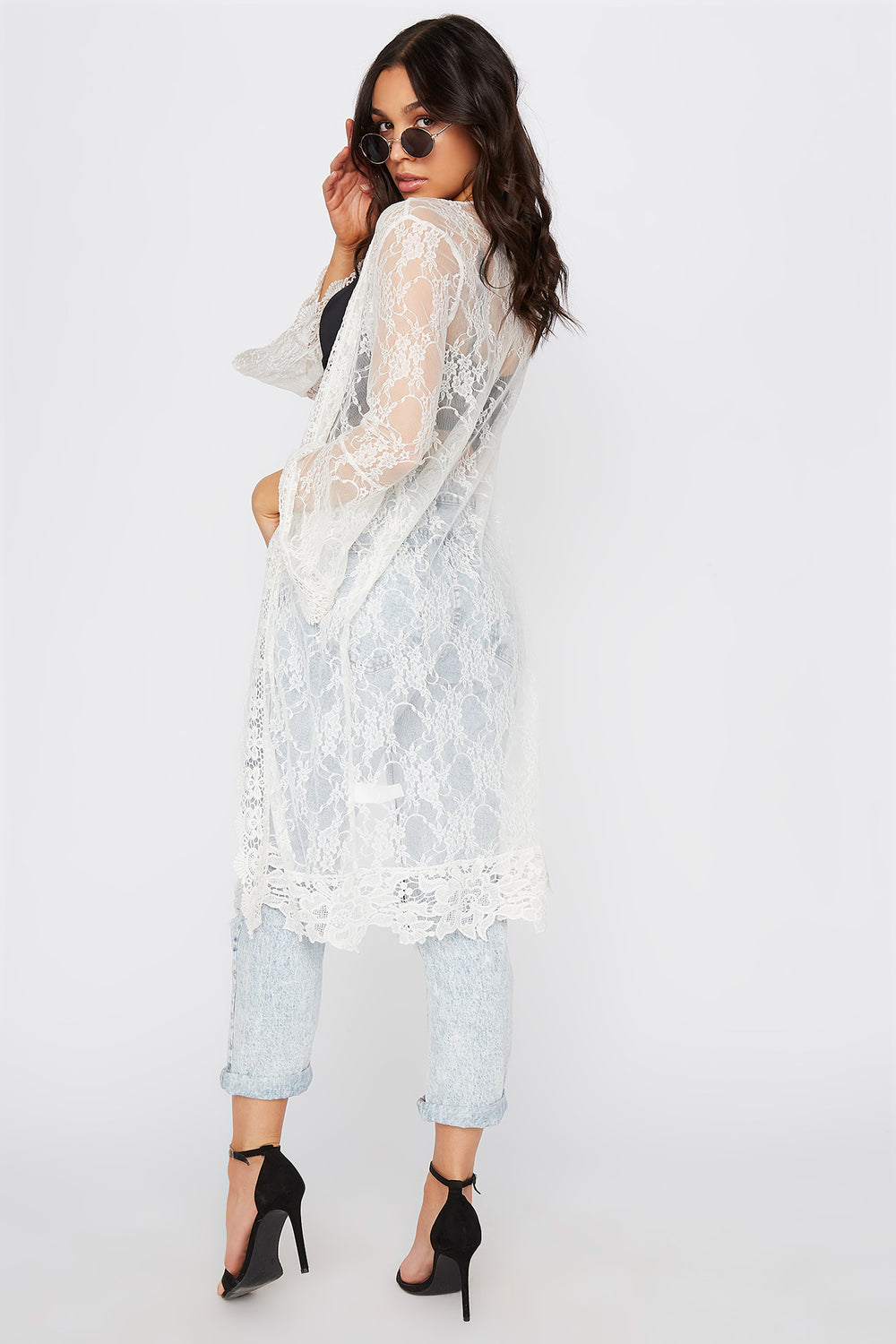 Lace Flounce Sleeve Open Front Cardigan White