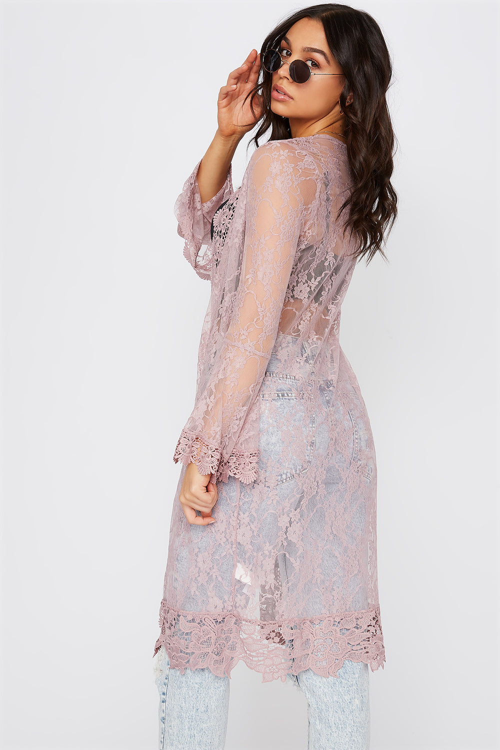Lace Flounce Sleeve Open Front Cardigan Lilac