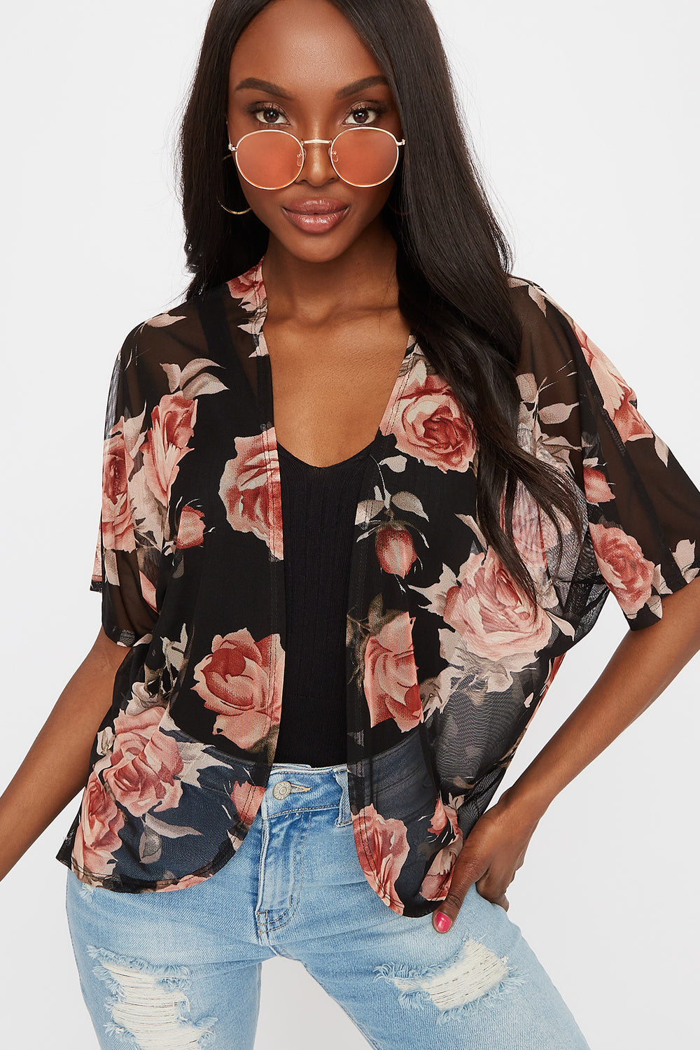 Printed Mesh Open Front Cardigan Black