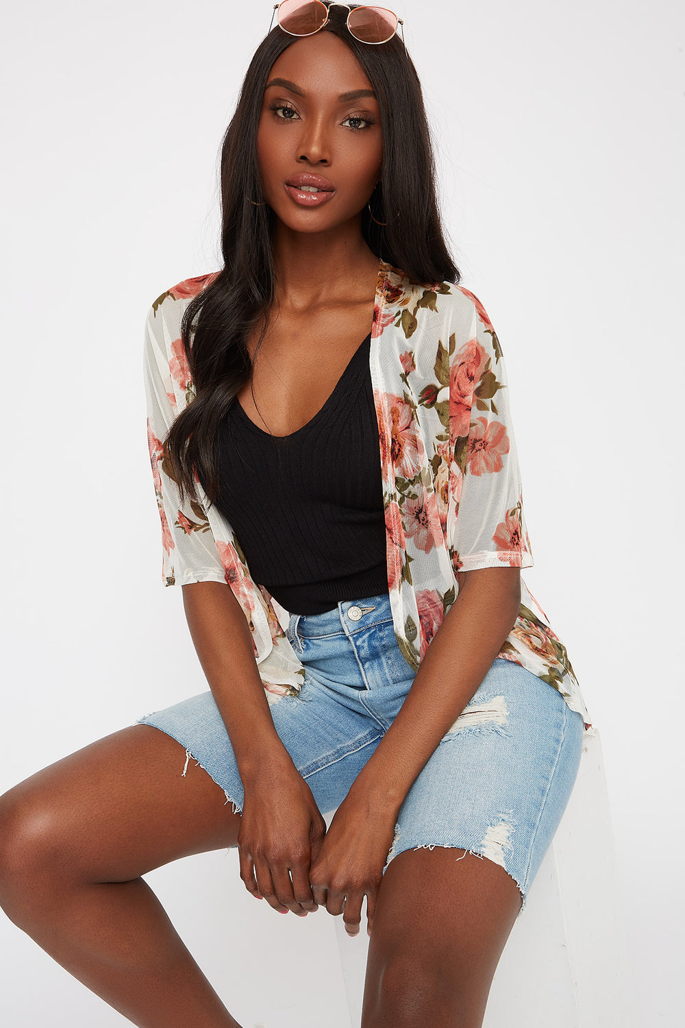 Printed Mesh Open Front Cardigan Ivory