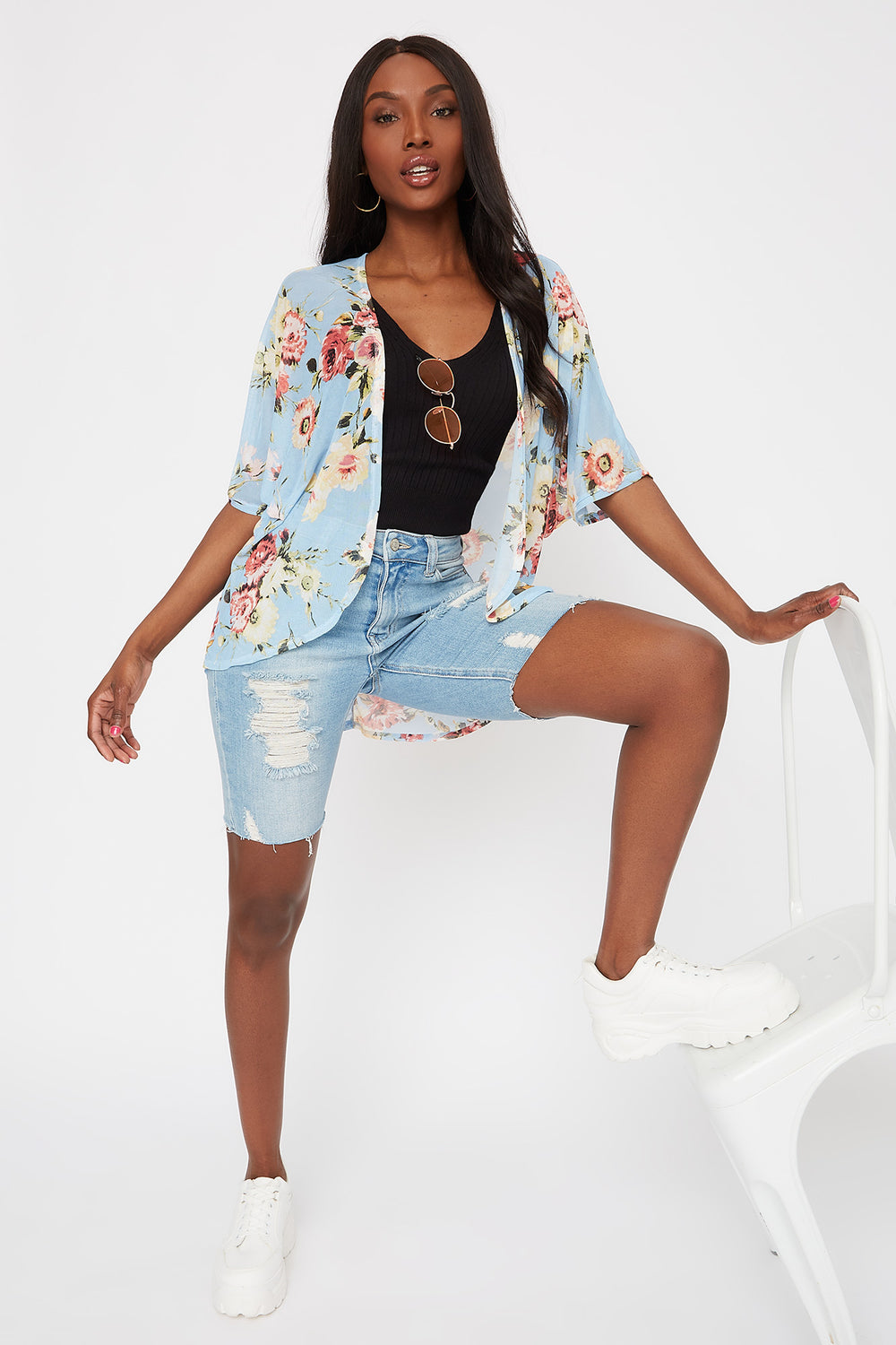 Printed Mesh Open Front Cardigan Light Blue