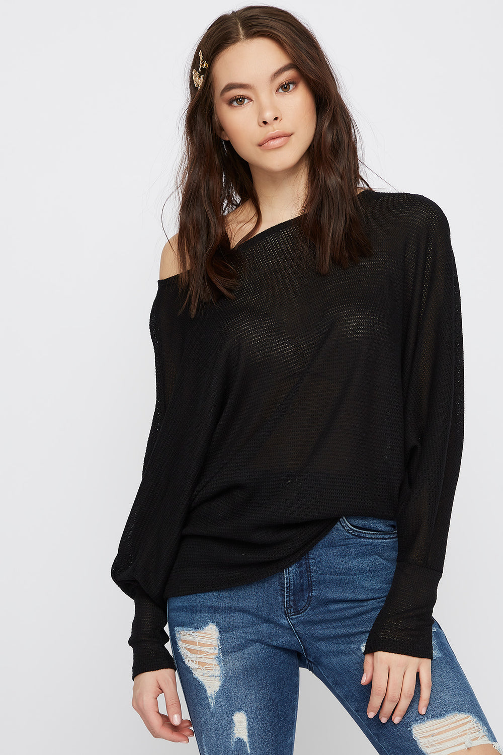 Waffle Knit Off The Shoulder Dolman Sleeve Sweater Black