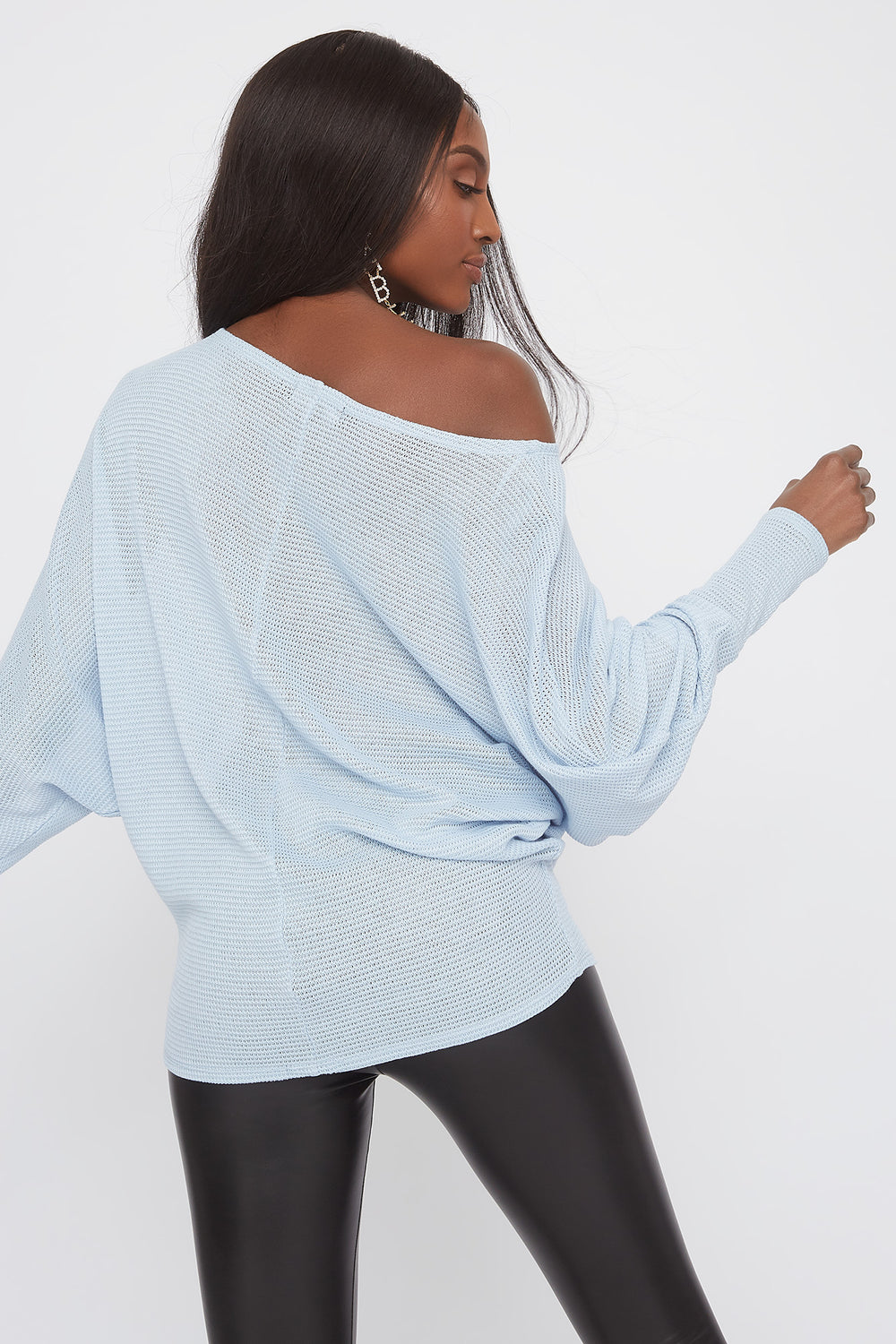 Waffle Knit Off The Shoulder Dolman Sleeve Sweater Light Blue
