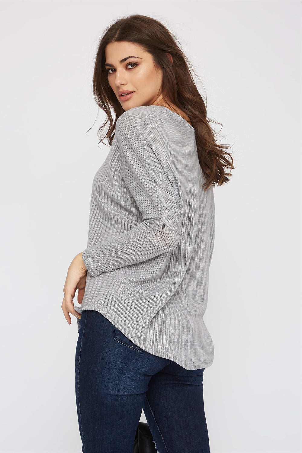 Knit Scoop Neck Long Sleeve Heather Grey