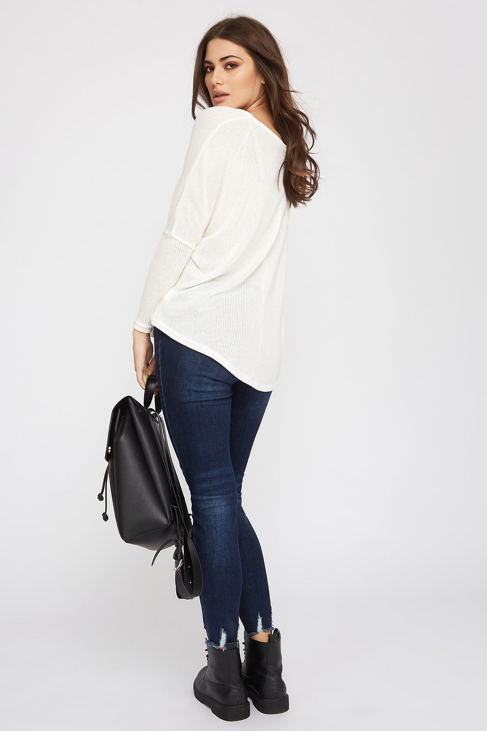 Knit Scoop Neck Long Sleeve Cream