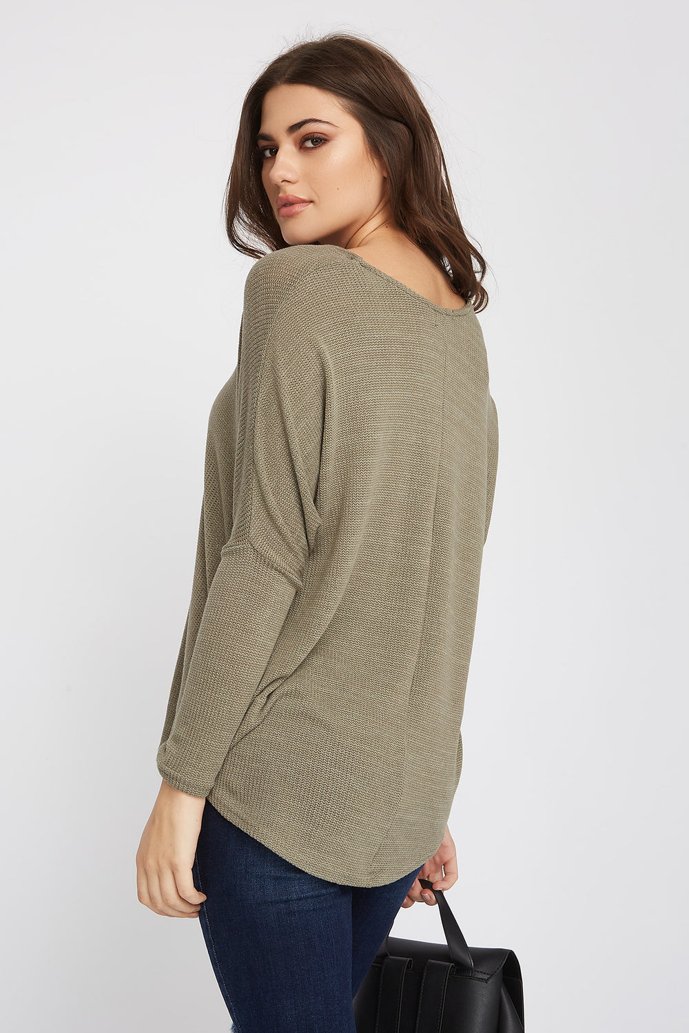 Knit Scoop Neck Long Sleeve Dark Green