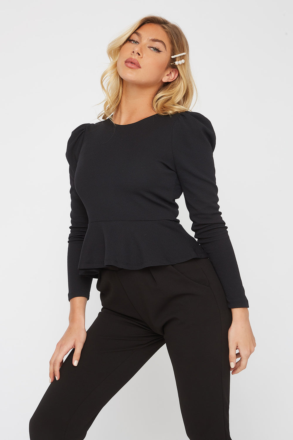 Crepe Long Sleeve Peplum Blouse Black