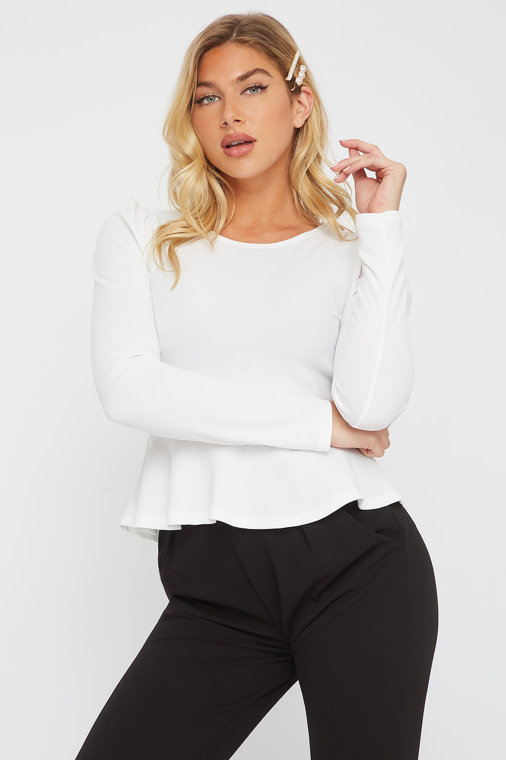 Crepe Long Sleeve Peplum Blouse White