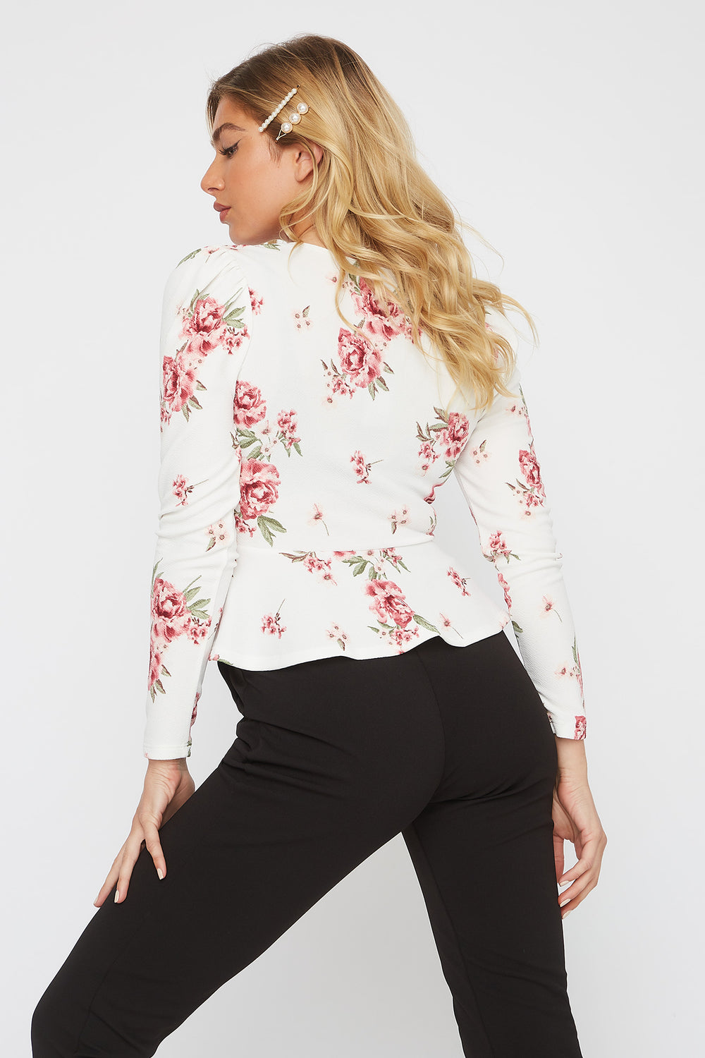 Crepe Long Sleeve Peplum Blouse Multi