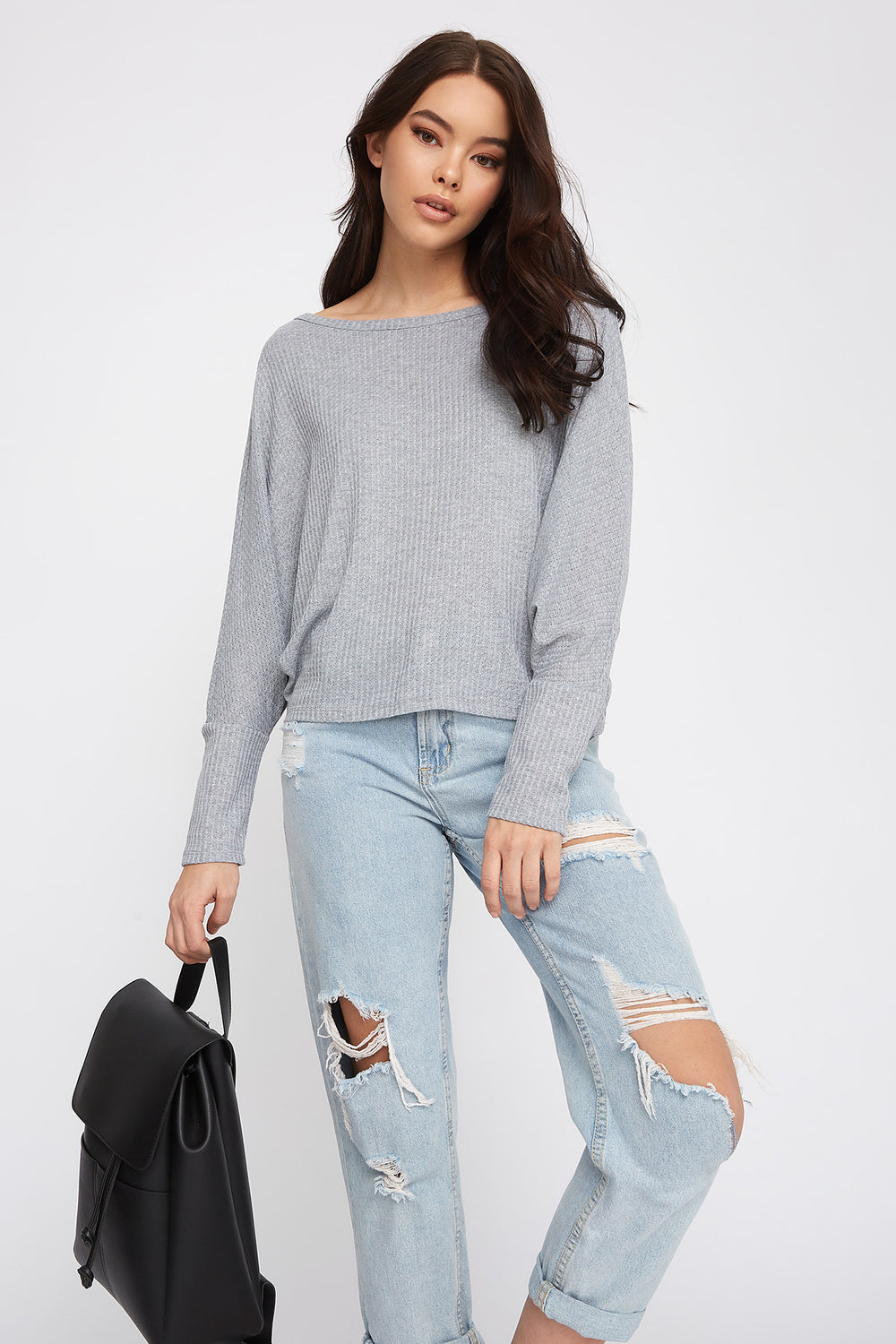 Waffle Knit Dolman Long Sleeve Heather Grey