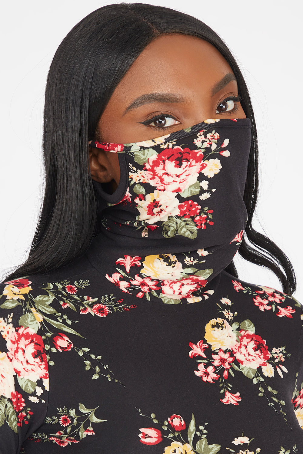 Floral Printed Turtleneck Mask Long Sleeve Top Black