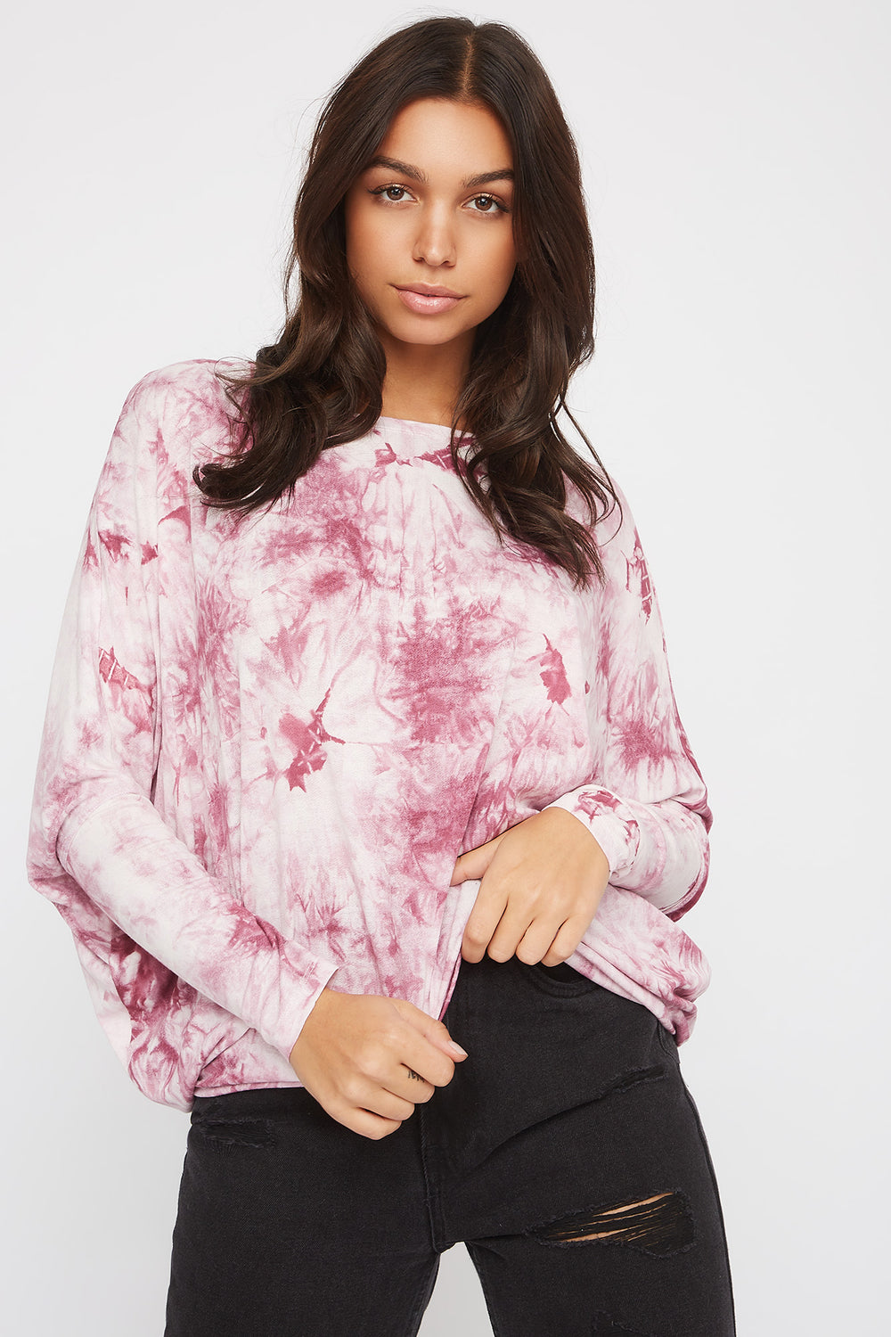 Tie Dye Oversized High-Low Long Sleeve Multi