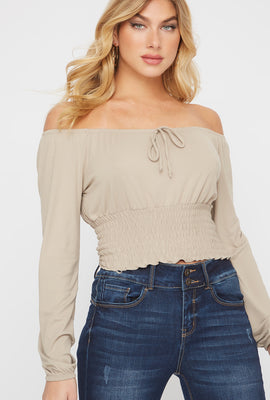 Cropped Off The Shoulder Smocked Peasant Blouse