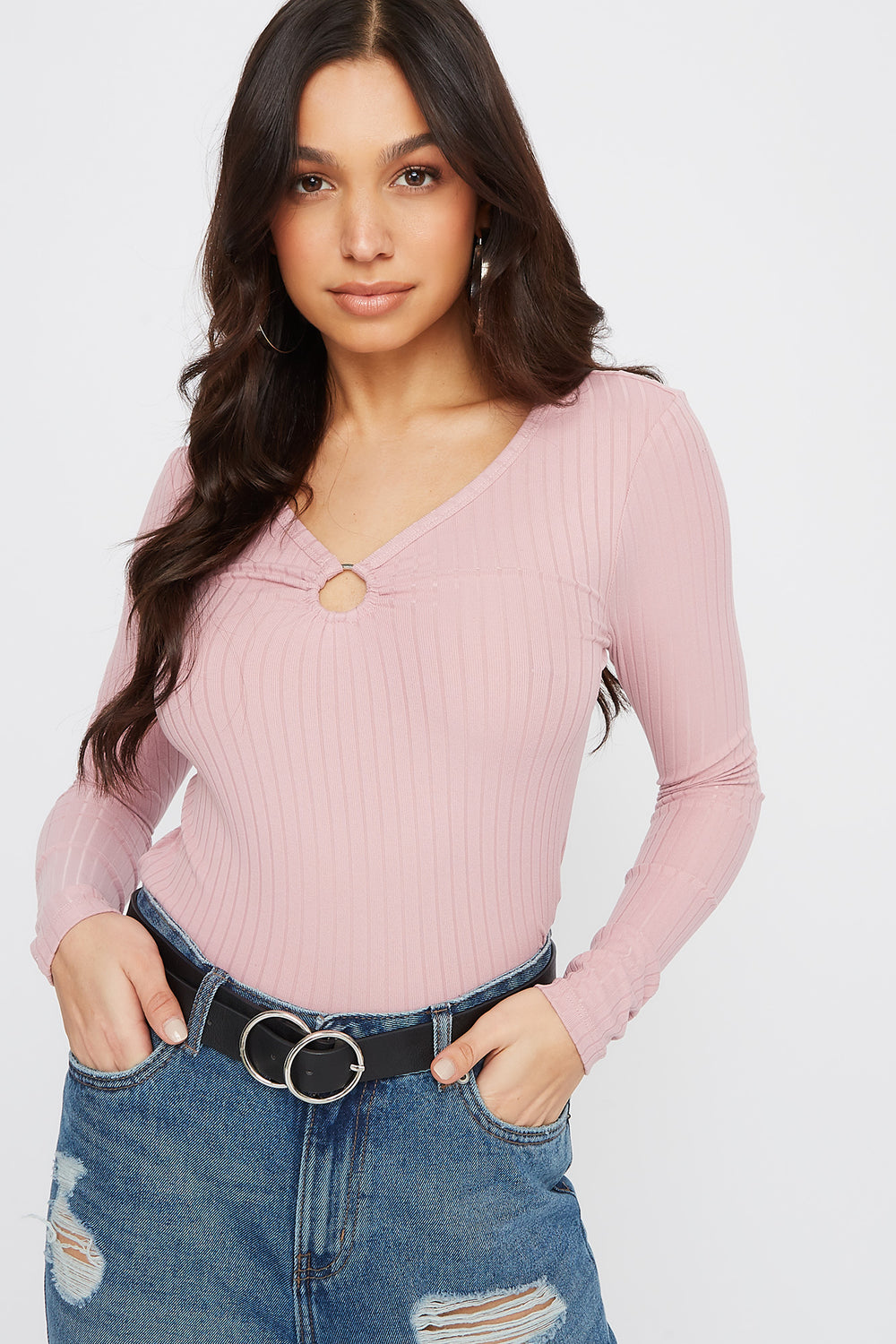 Ribbed Long Sleeve O-Ring Top Dusty Rose